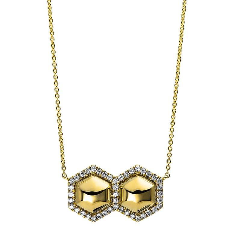 14 kt sárga arany nyaklánc 43 gyémánttal 4E117G4-1