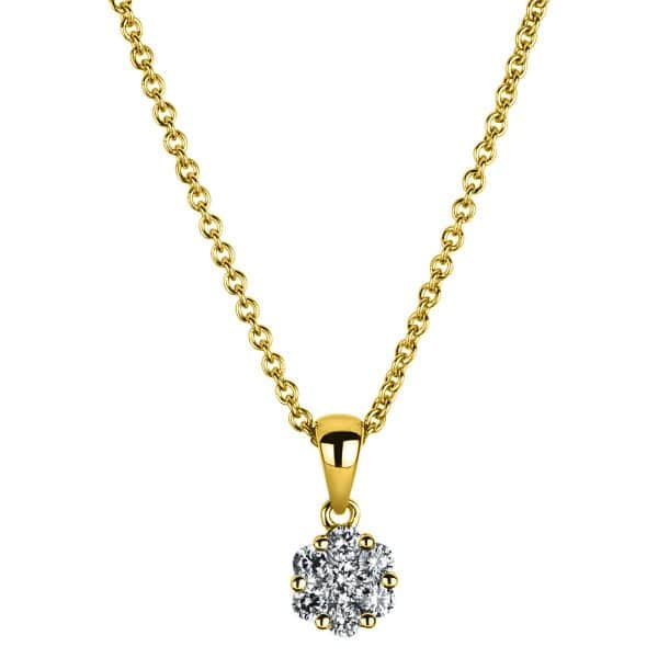 14 kt sárga arany nyaklánc 7 gyémánttal 4A221G4-1