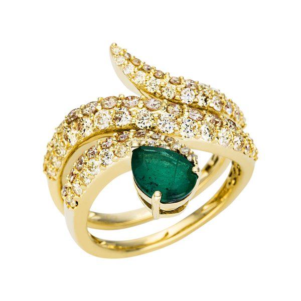 14 kt sárga arany színes drágakő 76 gyémánttal