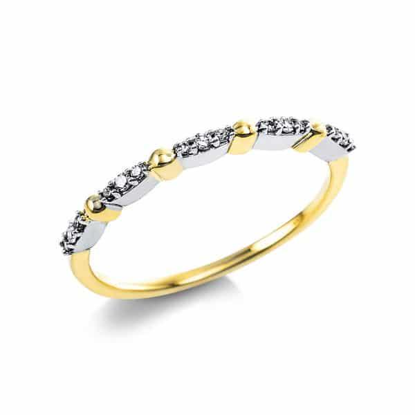 14 kt sárga arany több köves gyűrű 15 gyémánttal 1V632G454-1
