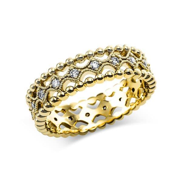 14 kt sárga arany több köves gyűrű 18 gyémánttal 1V635G454-1