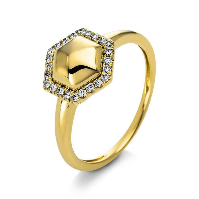 14 kt sárga arany több köves gyűrű 24 gyémánttal 1Q815G454-1