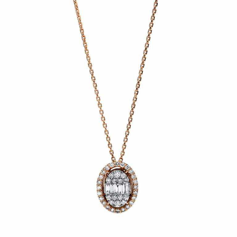 14 kt vörös arany / fehérarany nyaklánc 43 gyémánttal 4F245RW4-1