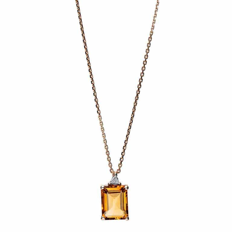 14 kt vörös arany nyaklánc 1 gyémánttal