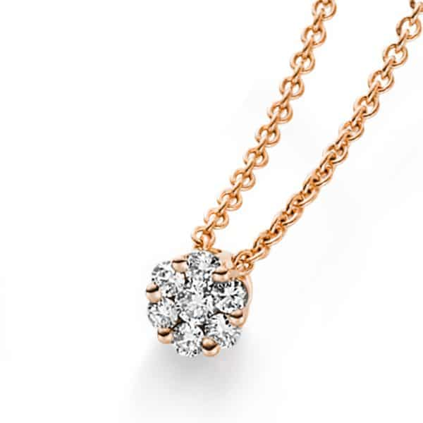 14 kt vörös arany nyaklánc 7 gyémánttal 4A215R4-3