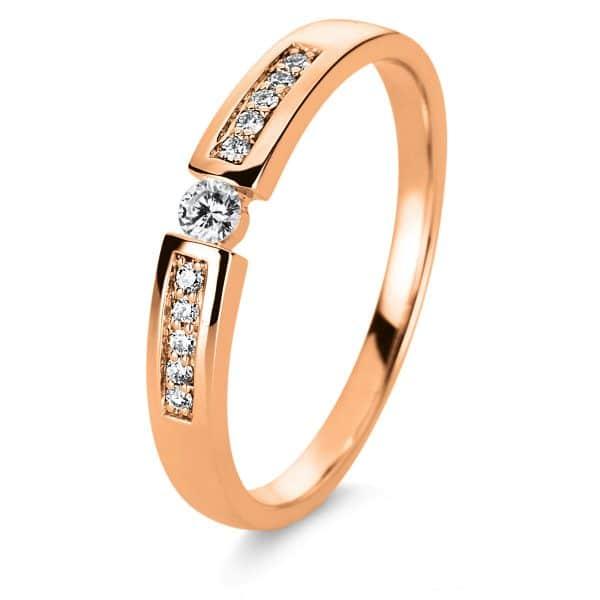 14 kt vörös arany szoliter oldalkövekkel 11 gyémánttal 1A401R454-1