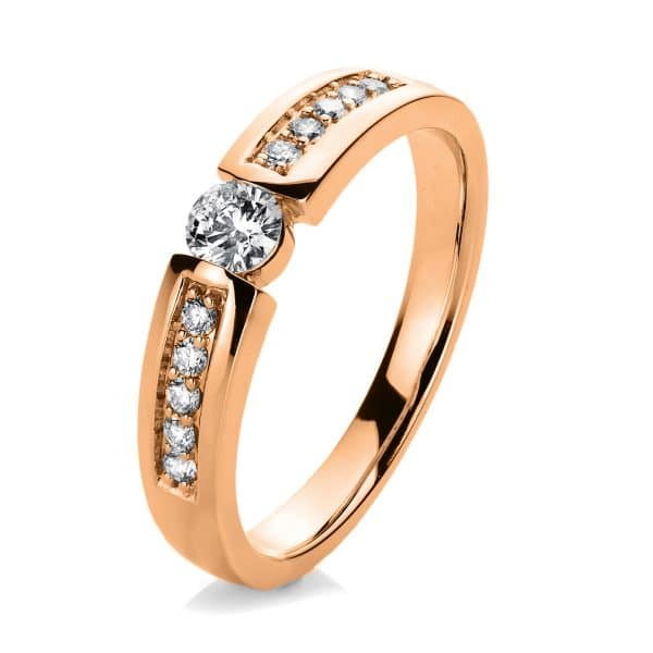 14 kt vörös arany szoliter oldalkövekkel 11 gyémánttal 1A405R454-1