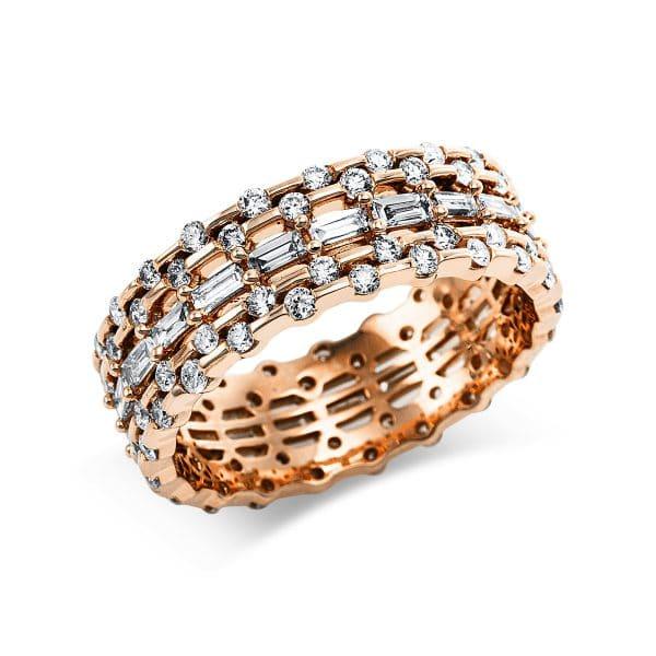 14 kt vörös arany több köves gyűrű 105 gyémánttal 1V649R454-1