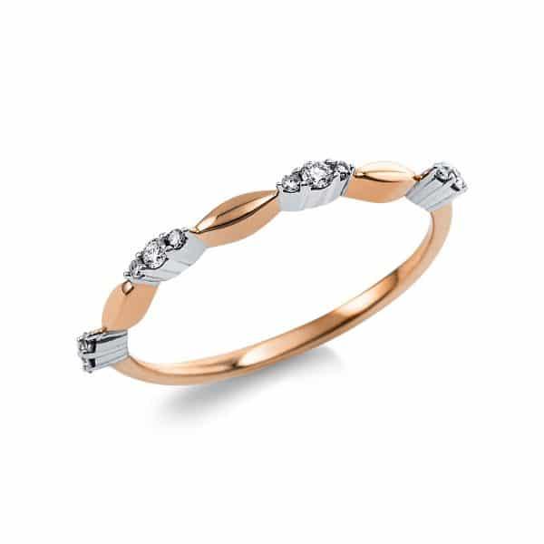 14 kt vörös arany több köves gyűrű 12 gyémánttal 1V631R454-1
