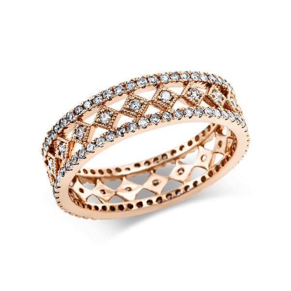 14 kt vörös arany több köves gyűrű 128 gyémánttal 1V628R454-1