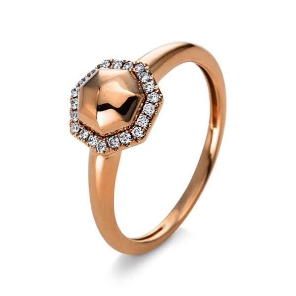 14 kt vörös arany több köves gyűrű 21 gyémánttal 1Q817R454-1