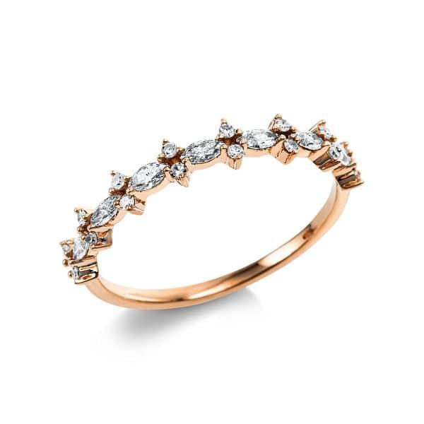 14 kt vörös arany több köves gyűrű 23 gyémánttal 1V629R454-1