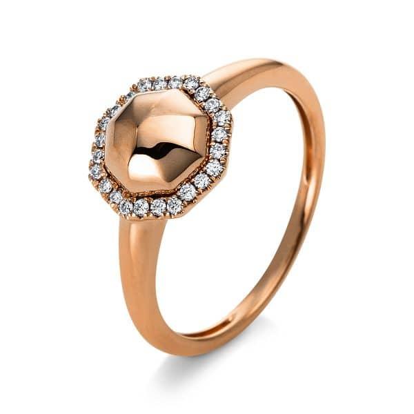 14 kt vörös arany több köves gyűrű 24 gyémánttal 1Q818R454-1