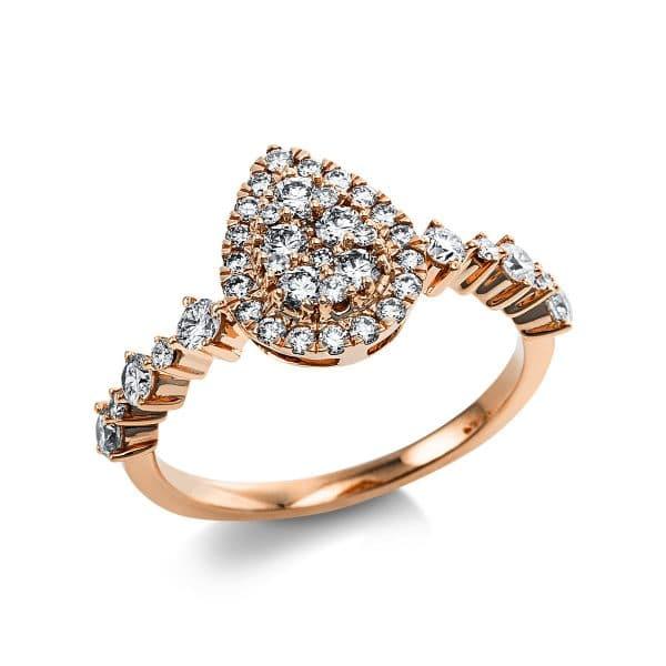 14 kt vörös arany több köves gyűrű 41 gyémánttal 1V657R454-1