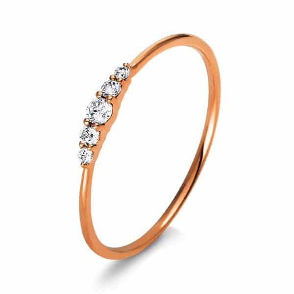 14 kt vörös arany több köves gyűrű 5 gyémánttal 1K122R454-3