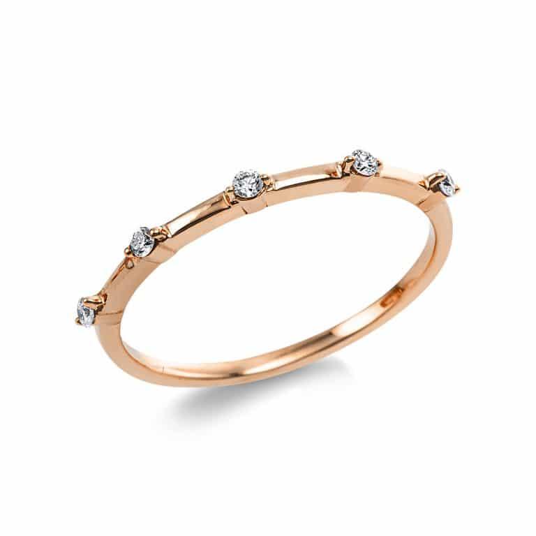 14 kt vörös arany több köves gyűrű 5 gyémánttal 1V636R454-1