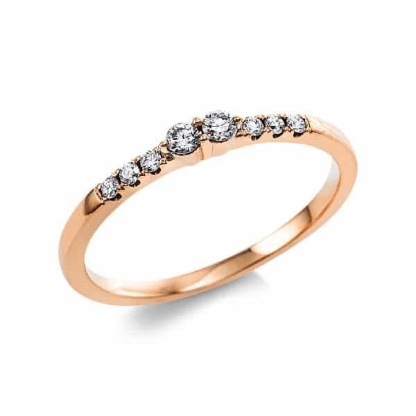 14 kt vörös arany több köves gyűrű 8 gyémánttal 1V634R454-1