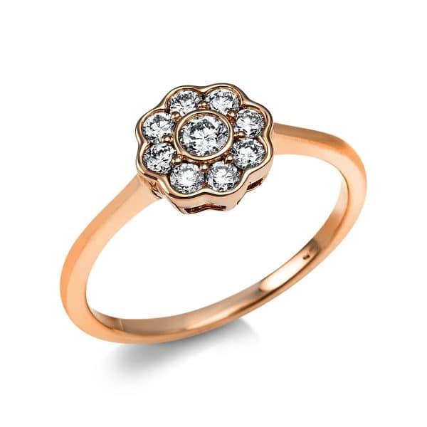 14 kt vörös arany több köves gyűrű 9 gyémánttal 1V644R454-1