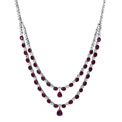 14 kt white gold necklace with 126 diamonds