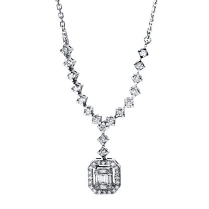 14 kt white gold necklace with 46 diamonds 4F586W4-1