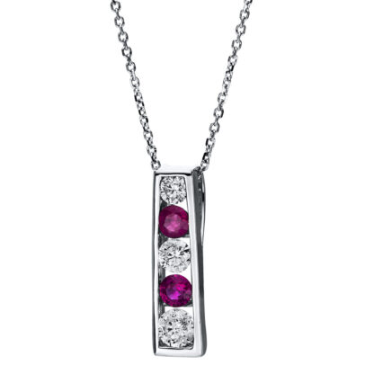 14 kt white gold necklace with 5 diamonds