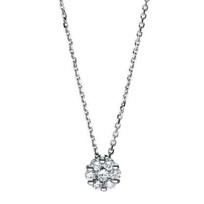 14 kt white gold necklace with 7 diamonds 4F254W4-1