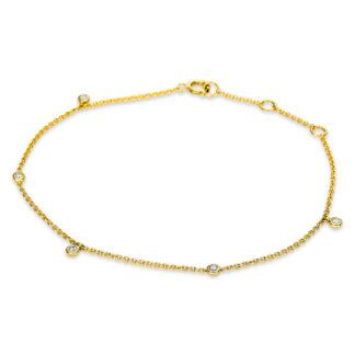 14 kt yellow gold bracelet with 5 diamonds 5B497G4-1