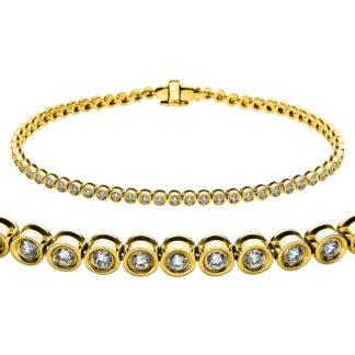 14 kt yellow gold bracelet with 62 diamonds 5A247G4-1
