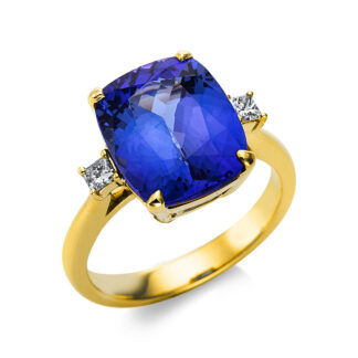 14 kt yellow gold color stone with 2 diamonds