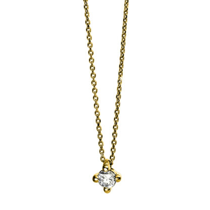 14 kt yellow gold necklace with 1 diamond 4D268G4-4