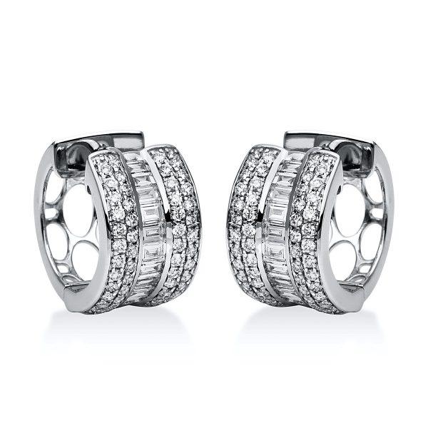 18 kt fehérarany karika és huggie 121 gyémánttal 2F078W8-3