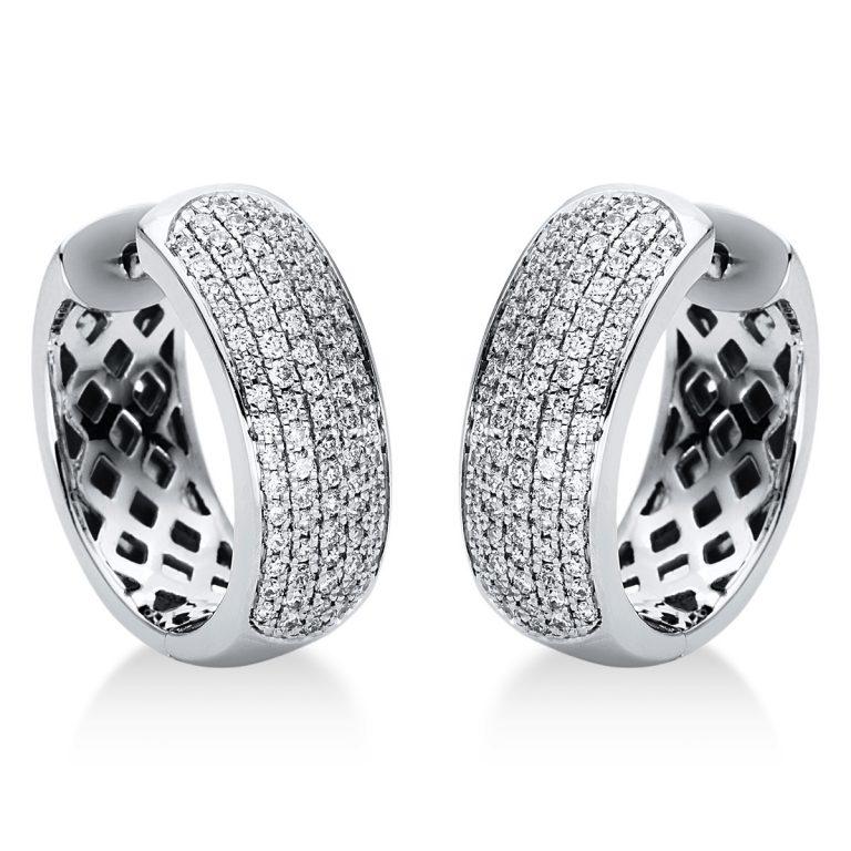 18 kt fehérarany karika és huggie 158 gyémánttal 2I879W8-3