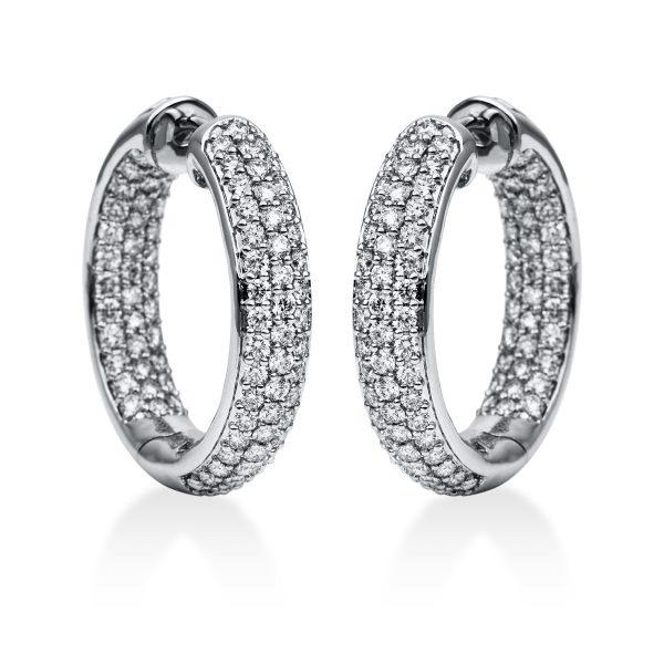 18 kt fehérarany karika és huggie 178 gyémánttal 2D563W8-3
