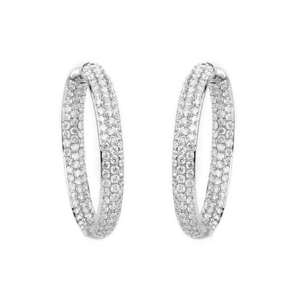 18 kt fehérarany karika és huggie 256 gyémánttal 2B158W8-4