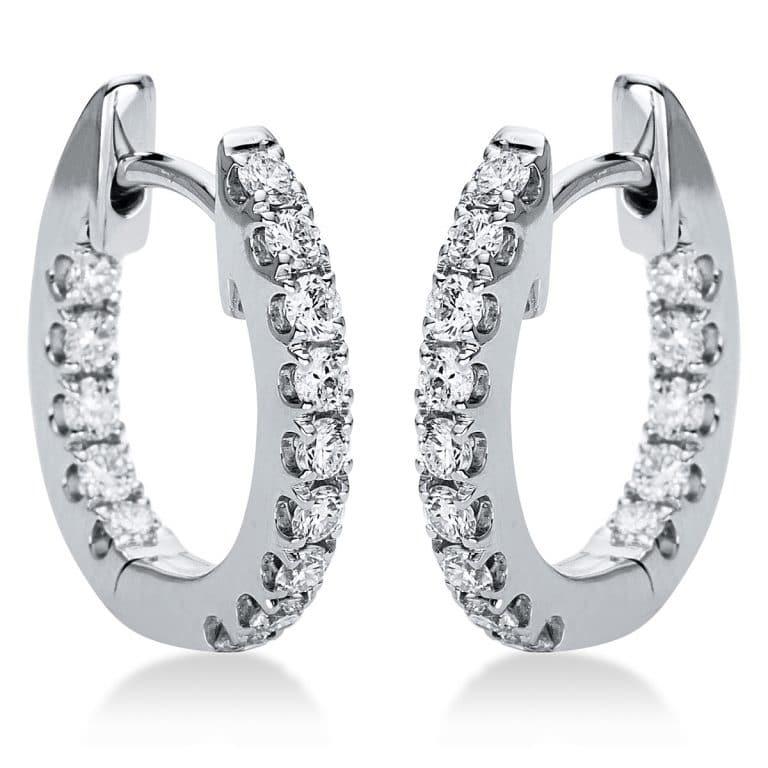 18 kt fehérarany karika és huggie 28 gyémánttal 2H120W8-3