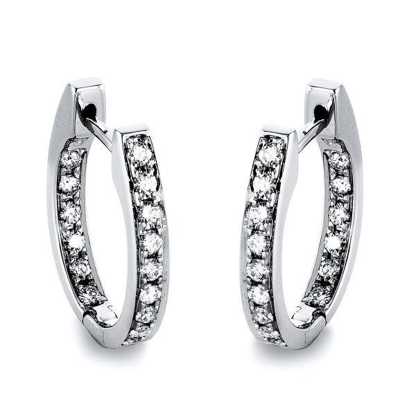 18 kt fehérarany karika és huggie 32 gyémánttal 2D799W8-1