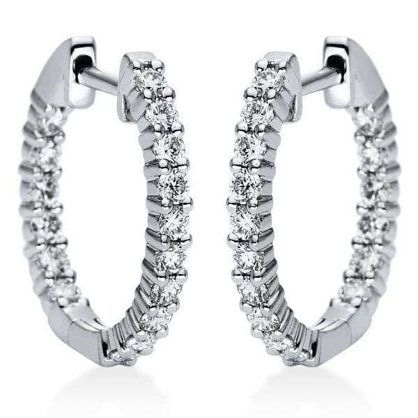 18 kt fehérarany karika és huggie 32 gyémánttal 2J119W8-1