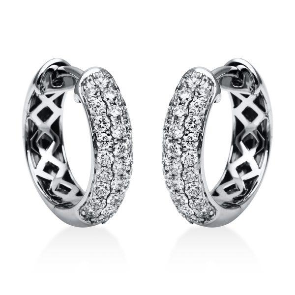 18 kt fehérarany karika és huggie 56 gyémánttal 2A065W8-2