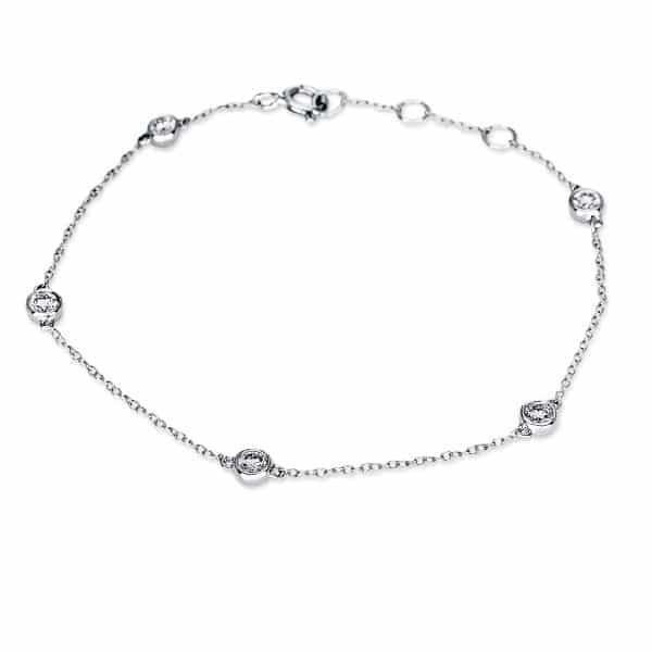 18 kt fehérarany karkötő 5 gyémánttal 5B824W8-1