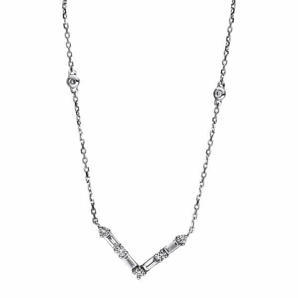 18 kt fehérarany nyaklánc 11 gyémánttal 4F439W8-1