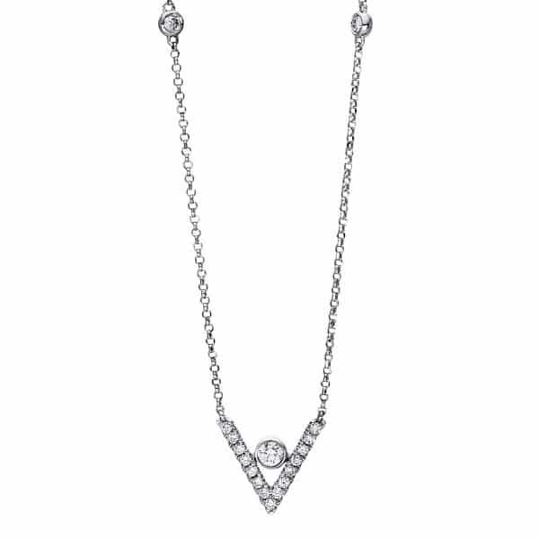 18 kt fehérarany nyaklánc 18 gyémánttal 4F475W8-1