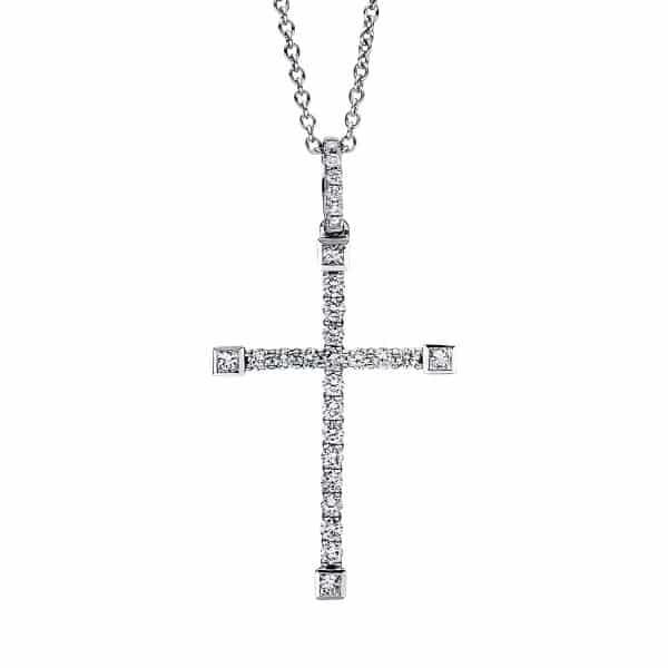 18 kt fehérarany nyaklánc 28 gyémánttal 4F395W8-1