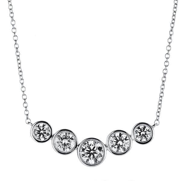 18 kt fehérarany nyaklánc 5 gyémánttal 4A791W8-2