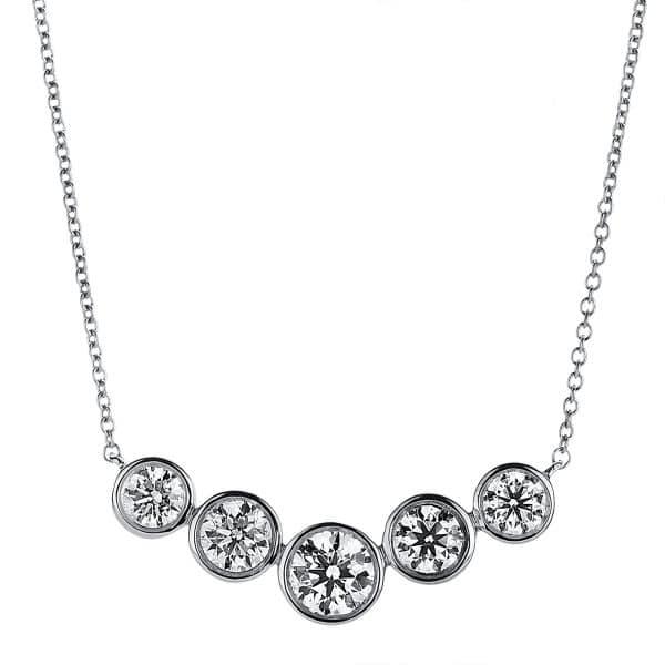 18 kt fehérarany nyaklánc 5 gyémánttal 4A792W8-2