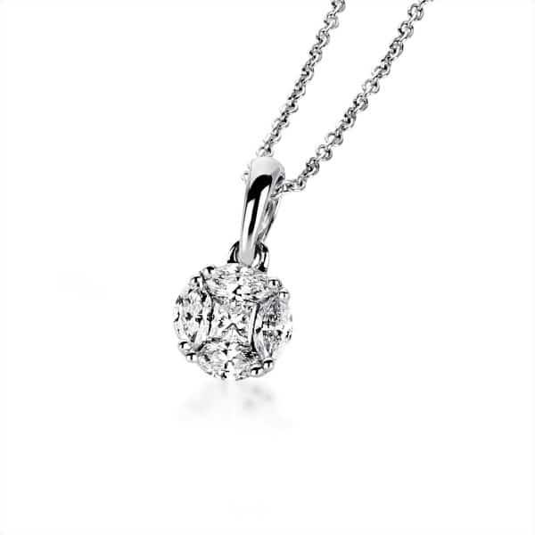18 kt fehérarany nyaklánc 5 gyémánttal 4A834W8-3