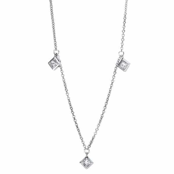 18 kt fehérarany nyaklánc 5 gyémánttal 4F378W8-1