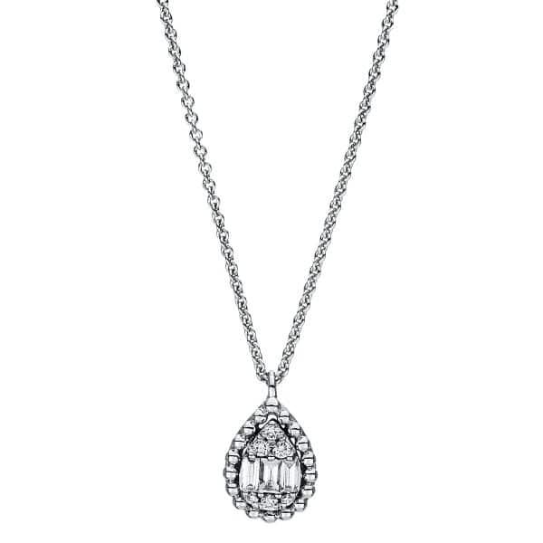 18 kt fehérarany nyaklánc 9 gyémánttal 4F417W8-1