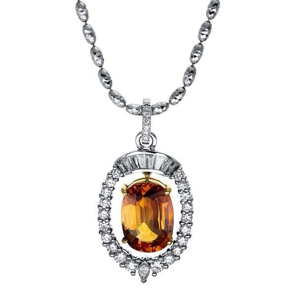 18 kt fehérarany / sárga arany nyaklánc 35 gyémánttal