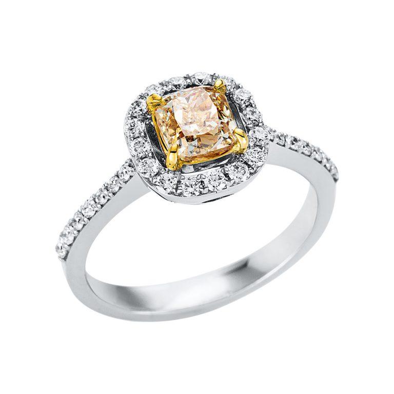 18 kt fehérarany / sárga arany szoliter oldalkövekkel 32 gyémánttal 1V325WG852-1