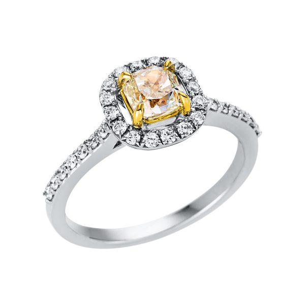 18 kt fehérarany / sárga arany szoliter oldalkövekkel 32 gyémánttal 1V327WG853-1